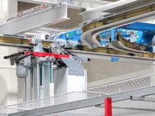 Hochdynamische Elektrohängebahn (EHB) in Fertigung und Einzelteilelager